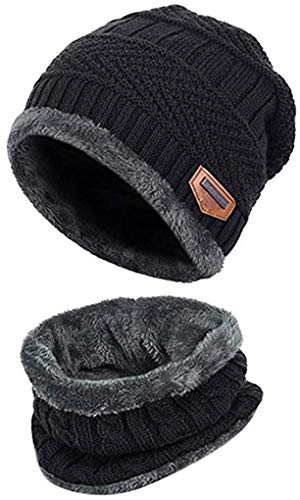 Aisprts Gorro Invierno con Bufanda, Calentar Sombreros Gorras Beanie de Punto Para Hombre Mujer (Negro)