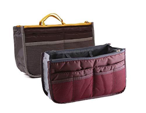 NOVAGO Organizador de Bolsos Bosillo para Cartera 12 Compartimentos (Gris + Borgoña, x 2)