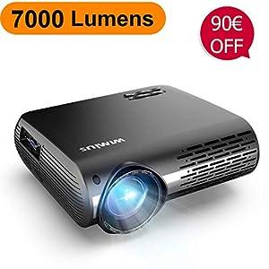 Proyector, WiMiUS 7000 Lúmenes Proyector Full HD 1920x1080P Nativo Soporta 4K Audio AC3 Proyector Video Ajuste Digital 4D 90,000 Horas Proyector LED para Cine en Casa y Presentación Empresarial