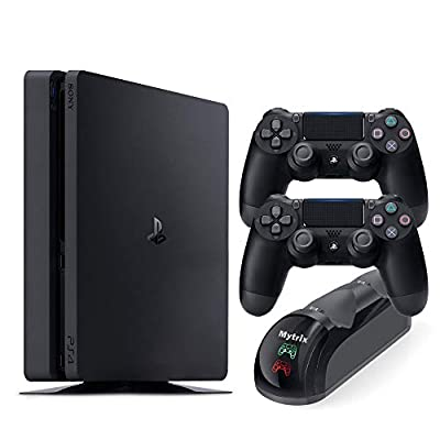 Playstation 4 Slim 1TB Console with Two DS4 Wireless Controller and Mytrix DS4 Fast Charging Dock from Mytrix