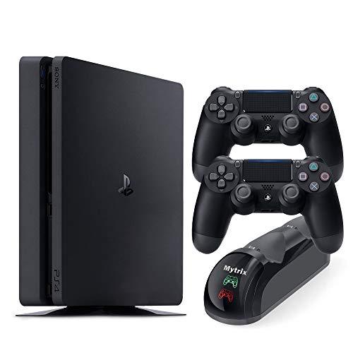 Consola PS 4 Slim de 1 TB con dos controladores inalámbricos DS4 y base de carga rápida Mytrix DS4