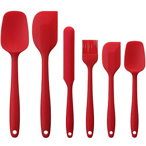 Elisel Silicone Spatula Set 6 piece sets of baking tools Stainless Steel Core scratch free heat resistant silicone scraper shovel for Cooking, Baking and Mixing (Red 6)
