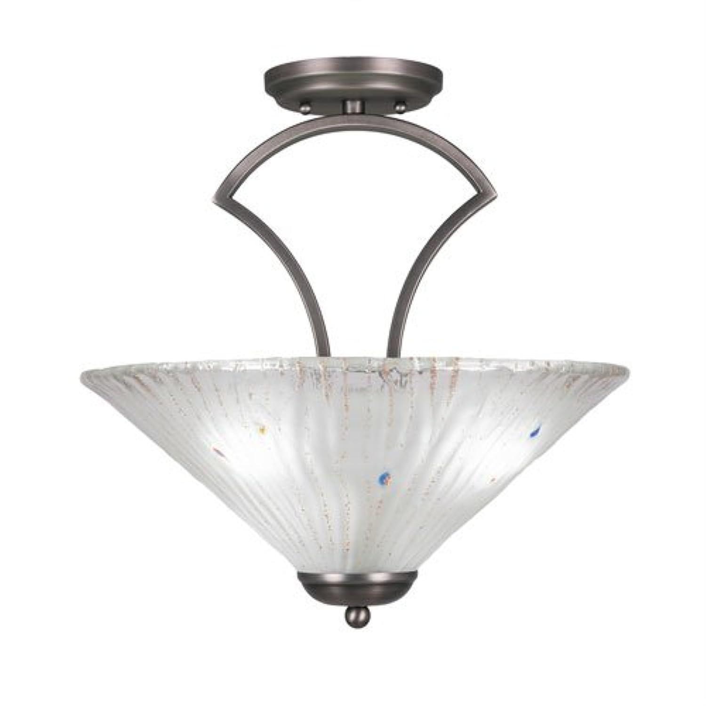 Tubia Lighting 565-GP-711 Zilo セミフラッシュ電球3個 つや消しクリスタルガラス 16インチ グラファイト