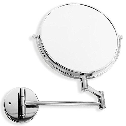 casa pura® Kosmetikspiegel für die Wandmontage   wahlweise mit oder ohne LED Beleuchtung   3 hohe Vergrößerungsgrade wählbar (10-Fach - ohne LED)