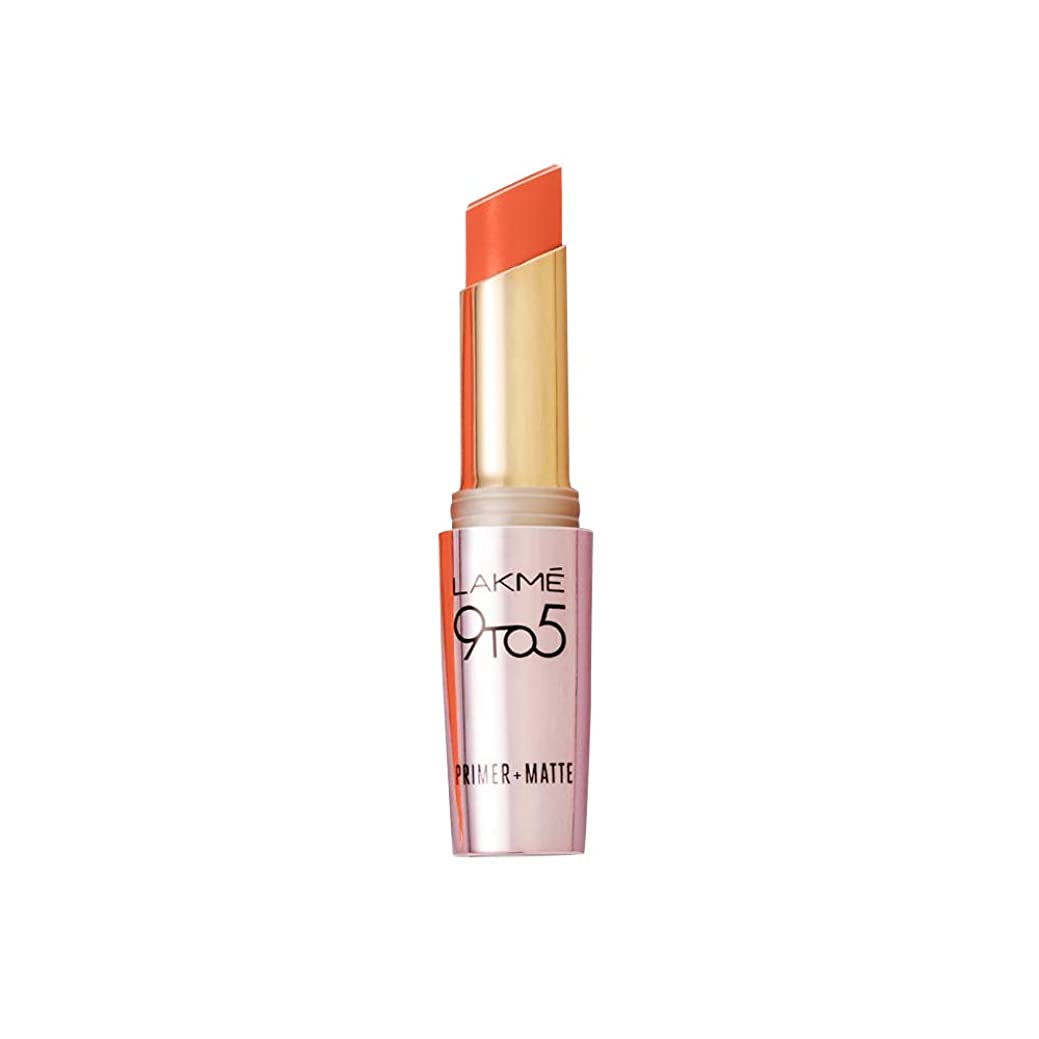 新しい意味成人期秀でるLakme 9 to 5 Primer with Matte Lip Color, MR7 Saffron Gossip, 3.6 g