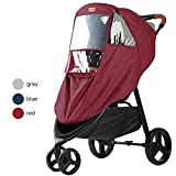 GOOVI Rain Cover Universal Size Elastic Band Full-Protection Nano Coating Waterproof Windproof Stroller Weather Shield-Red