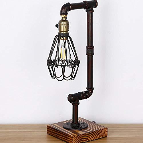 LHXY Loft Madera Base Steampunk Lámpara Escritorio Hierro Tubo Lámpara de Mesa de Luz del Escritorio Lámpara de Mesilla Noche para Estudio de Luz Nocturna de la Cabecera