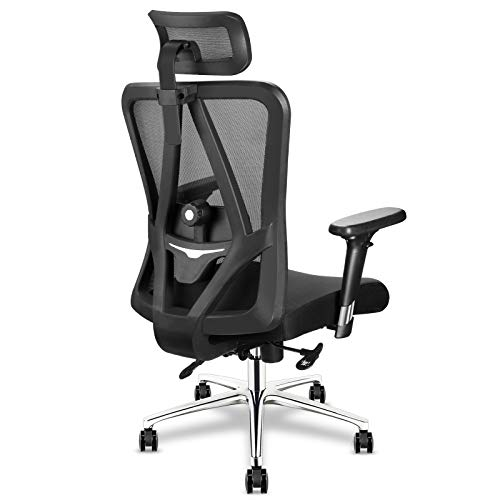 mfavour Ergonomic Office Chair Swivel Desk Chair with Lumbar Support Ergonomic Chair with Wheels Executive mesh Chair for Home Office Adjustable Headrest Backrest High Back Computer Desk Chair