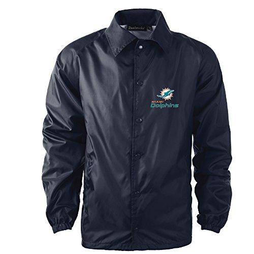 Dunbrooke Apparel Men's Coaches Jacket, Navy, 2X, Miami Dolphins