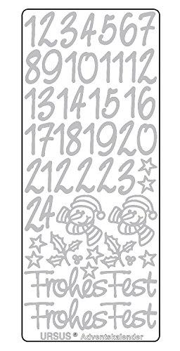 Ursus 593100103 - Kreativ Sticker Adventskalender, silber, 5 Stickerbogen mit Zahlen von 1 bis 24, selbstklebend, leicht abziehbar, zum Nummerieren von selbstgemachten Adventskalendern