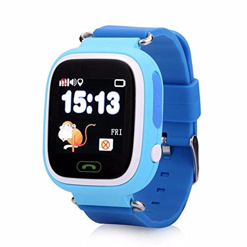 Generisch PromoTech 2019 kinderhorloge: kinder-smartwatch, telefoon, GPS-, GSM-, tracking, SOS-knop, blauw (kinderhorloge GPS)