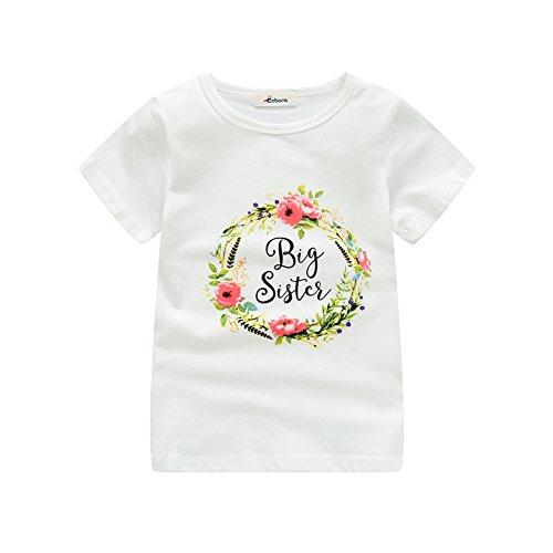 Shiningup Sommer Kinder Mädchen T-Shirt Kurzarm Little Sister Strampler Big Sister Printed Sweatshirt Outwear für 0-6 Jahre alt