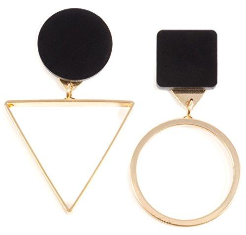 Happiness Boutique Damen Asymmetrische Ohrringe in Schwarz und Goldfarbe | Dreieck und Kreis Geometrische Ohrringe