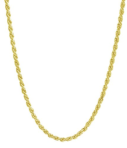 """18K Gold 1.5MM Diamond Cut Rope Chain Necklace - Made in Italy -14""""-30"""" - Yellow, White, Or Rose Gold (Yellow, 18)"""