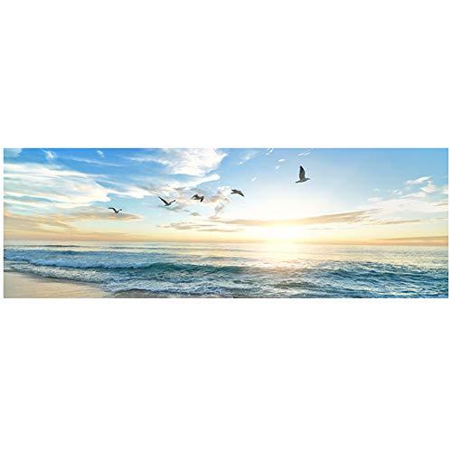 Stampa su Tela Mare Naturale Spiaggia Uccelli in Volo Paesaggi Poster Tela Pittura Immagine per Parete per Soggiorno Decor Salon 50x150 cm (19,7 x59,1) Senza Cornice