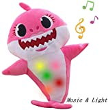 Children's Soft Toy Shark Baby, Plush Shark Toy with Music and Night Lights Singing, is The Best Gift for Boys and Girls(Pink)