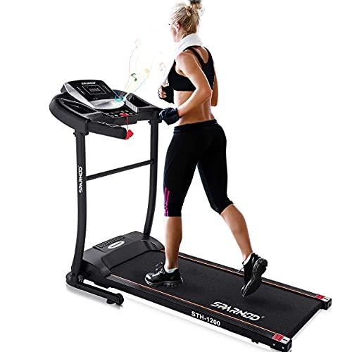 Sparnod Fitness STH-1200 (3 HP Peak) Automatic Treadmill (DIY Installation) - Foldable Motorized Treadmill for Home Use - Black