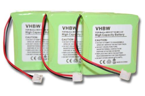 vhbw 3X Akku passend für Medion und Doro schnurlos Festnetz Handy (600mAh, 2.4V, NiMH)