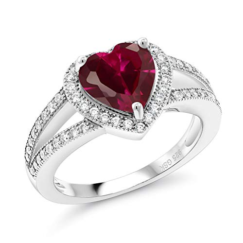 Gem Stone King 925 Sterling Silver Red Created Ruby Women Ring (2.41 Ct Heart Shape, Available 5,6,7,8,9) (Size 8)