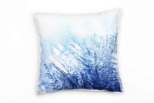 Paul Sinus Art Macro, winter, blauw, wit, decoratief ijs kussen 40x40cm voor bank bank bank lounge sierkussen - decoratie om je goed te voelen