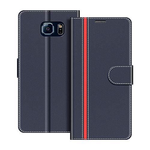 COODIO Handyhülle für Samsung Galaxy S6 Handy Hülle, Samsung Galaxy S6 Hülle Leder Handytasche für Samsung Galaxy S6 Klapphülle Tasche, Dunkel Blau/Rot