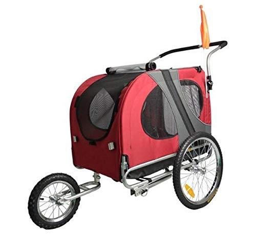 """Remolque de bicicleta para mascotas ( perros medianos - grandes). Remolques con rueda delantera Jogger 12"""". Barra de remolque + Pieza de enganche. Remolque de perros de GRAN CAPACIDAD.(Rojo)"""