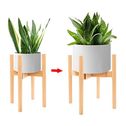 Yuccer Soporte Plantas Madera Ajustable Estante Macetas Retro Puesto de Flores Moderno para Interior y Exterior Hogar Jardín (Madera)
