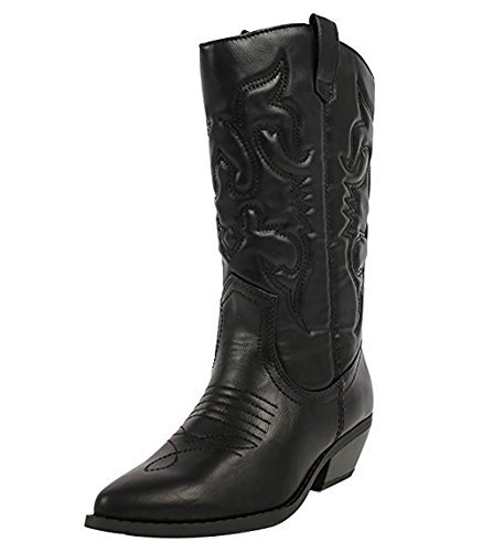MVE Shoes Women's Western Cowboy Pointed Toe Knee High Pull On Tabs Boots Black 7