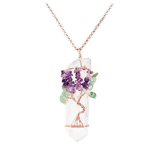 Collar con colgante de 7 chakras con piedra amatista de cristal transparente envuelto en alambre con piedras de cuarzo de Jovivi
