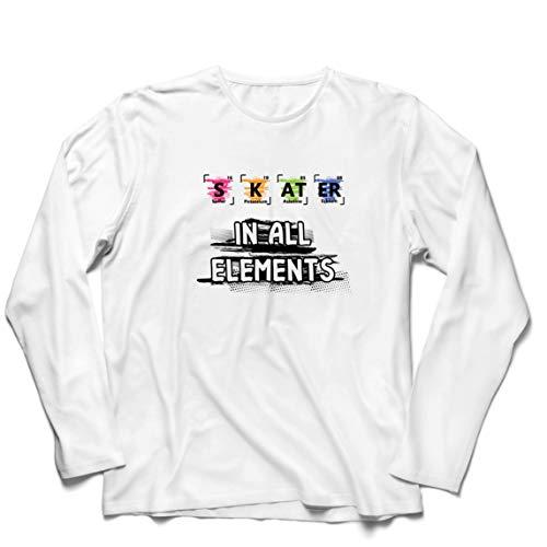 lepni.me Camiseta de Manga Larga para Hombre Patinador en Todos los Elementos Química Periódica de Mesa Deporte (XXX-Large Blanco Multicolor)