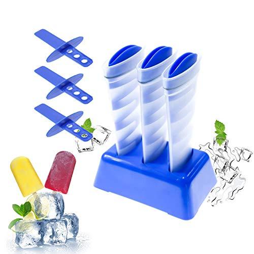 Cubitos de hielo creativos con tapa, Mighty Freeze con herramienta reutilizable y fácil de liberar para hacer zumo, limonada, receta de batidos, whisky, comida de bebé, paletas (paquete de 3)