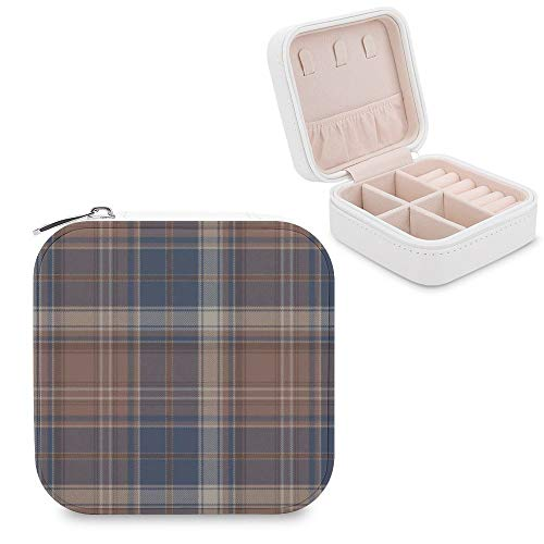 Small Jewellery Box, Mini Size Travel Jewelry Storage Case with Faux PU Lidded Light Weight, Rings,Earring,Necklace Organiser with Various Compartments/Brown Tartan Grey Plaid Beige