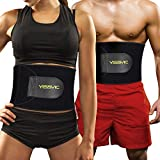 YISSVIC Sweat Slim Belt for Men and Women Slimming Belt with Zipper Phone Pocket Flexible (9 inch, Black).