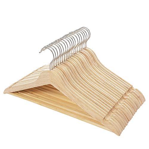 木製ハンガー 洋服ハンガー 20本組 洗濯ハンガー 滑らかに仕上げたシャツハンガー 肩部分に凹み付き 滑り止...