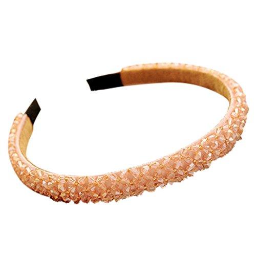 KUDICO Stirnband Damen Exquisit Haarband Haarschmuck Stirnbänder Kristall Rhinestone Headwear Haarreifen für Mädchen Party Accessoires(Rosa)