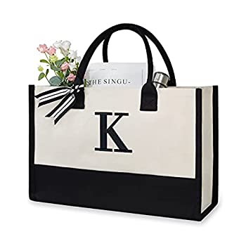 TOPDesign Embroidery Initial Canvas Tote Bag Personalized Present Bag Suitable for Wedding Birthday Beach Holiday is a Great Gift for Women Mom Teachers Friends Bridesmaids  Letter K