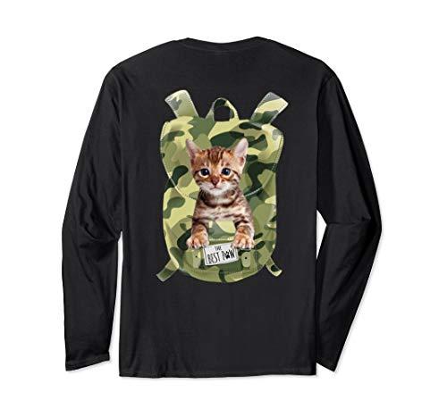 Funny Bengal Cat Camo Backpack pocket Cat bag lover gift Long Sleeve T-Shirt