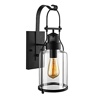 RUNNUP Industrial Wall Sconces Wall Lighting Lantern Wall Lamp Wall Fixture Loft Light with Cylinder Glass Shade use E26 Light Bulb in Black Finish
