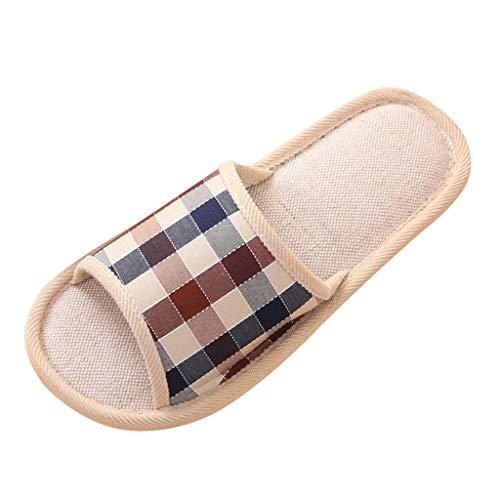 Yowablo Hausschuhe Männer Mode Casual Paare Gingham Home Indoor Floor Flache Schuhe (44,Herren-Kaffee)
