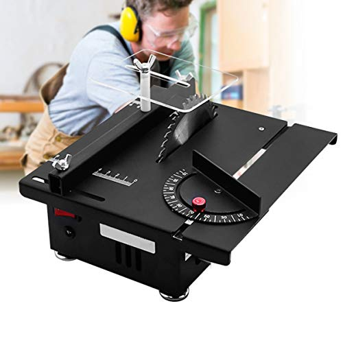 ETE ETMATE Electric Table Saw, Mini Portable Tabletop Saw Machine, Adjustable Lifting DIY Tool, for Wooden Model Metal Tile Art Craft (Small, Table Saw)