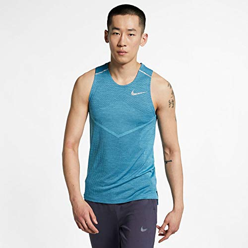 Nike Men's TechKnit Ultra Running Tank Top - Ntshde/Lt Ble Fry/Rftv Sv, Large