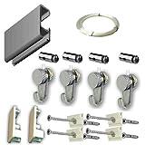 MARCS ARIAS SL Pack Basic RM de 150cm Guías de Aluminio para Colgar Cuadros (Plata Mate) con 4 colgadores Nylon