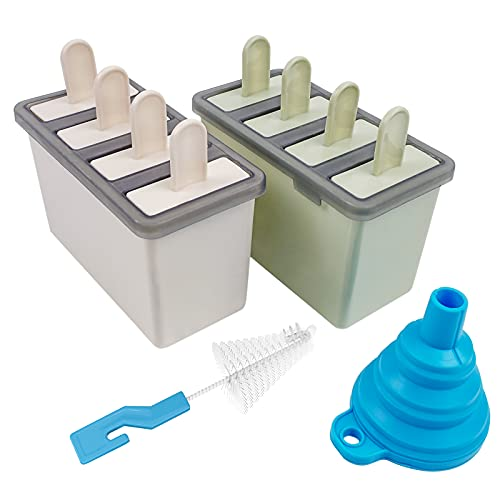 Popsicle Molds Ice Pop Mold Set- 8 Pieces Ice Cream Molds Reusable Easy Release Ice Pop Maker with Silicone Funnel and Cleaning Brush Beige and Green