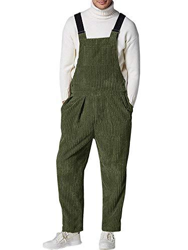 Gemijacka Latzhose Herren Cord-Latzhose mit 5 Taschen Herren Winter Streetwear Retro Corduroy Overall Grün M