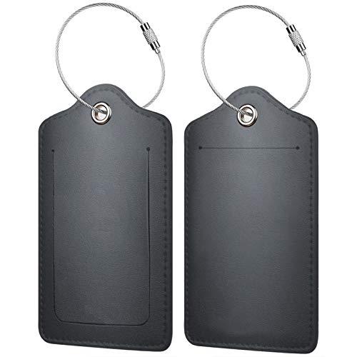 FULIYA - Juego de 2 etiquetas de cuero de gama alta para maletas, identificador de viaje para bolsos y equipaje, para hombres y mujeres, superficie, sombra, textura