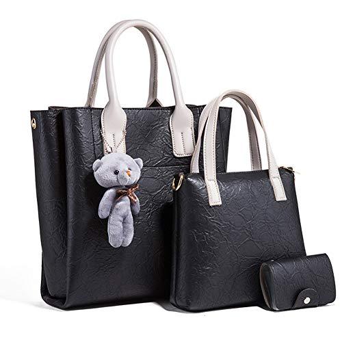 BGKJ eenvoudige maar niet eenvoudig om moeder-kind tas drie-delige grote capaciteit een-houder Diagonale Cross-Handtas, Stuur beer ornamenten en kaart zakken