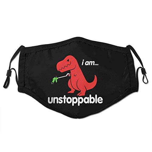Mundschutz I Am Unstoppable T Rex Face Cover Mouth Cover Mouth Scarf Face Covering Washable Reusable with Replaceable Filter,S