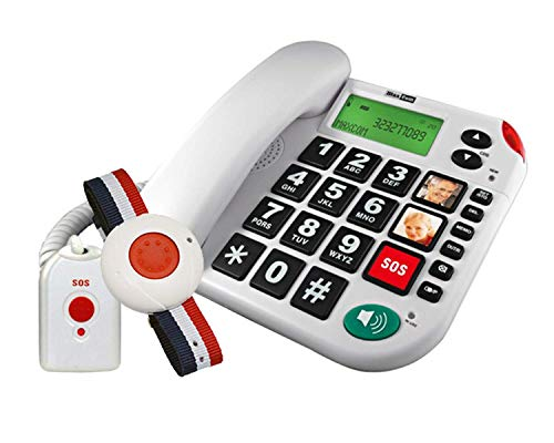 G-TELWAREin - Teléfono fijo para personas mayores (con mando a distancia SOS, 4 pilas, adaptador TAE/NFF, 1 transmisor de pulsera y 1 emisor manual con correa)