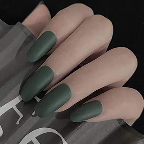 Jovono - 24 unghie finte, per unghie finte, colore verde, per donne e ragazze (opaco, senza colla)