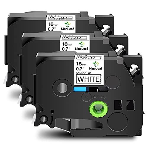 NineLeaf 3 Pack Standard Laminated Self-Adhesive Label Tape Compatible for BrotherTZe241 TZ241 TZ 241 TZe 241 P-Touch PT-9800 PT-9600 PT-7600 PT-2730 PT-2700 18mm x 8m Black on White